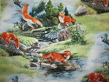 FOX  NATURAL SETTING NATURE FOXES COTTON FABRIC BTHY