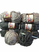 Lion Brand Hometown USA Yarn Chicago Charcoal Dallas Gray Super Bulky Lot 8 (H)