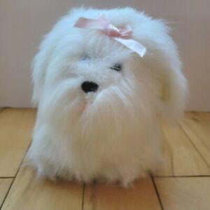 Dakin White Yorkshire Terrier Dog Pink Bow Dakin 1984 Plush Stuffed Animal Vtg