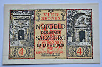 SALZBURG NOTGELD 4 KRONEN KORONA 1920 AUSTRIA BANKNOTE (6204)