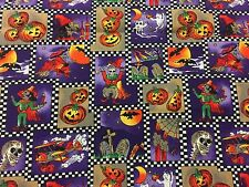 Hi Fashion Halloween Witch Pumpkin Pictures in Checker Board Frames Fabric BTHY