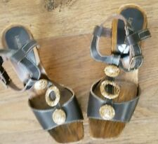 LAURA SCOTT - High Heel Leather Sandals -Clogg Effect - Ring Designs -Size 7-New