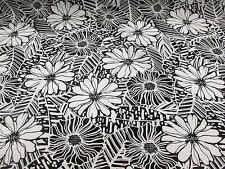 Ivory & Black, Abstract Retro Floral 100% Viscose Summer Printed Dress Fabric.