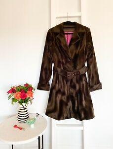SACHA DRAKE brushed velvet belted retro coat / sz 12 / best fit sz 8 10