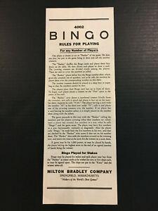 Original Rules Number Calling Sheet for Vintage 1960 Bingo Game MB #4002