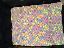 Chunky Baby blanket with matching hat- pink, blue, yellowish