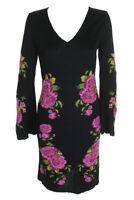 Inc International Concepts Deep Black Long-Sleeve Floral Sweater Sheath Dress M