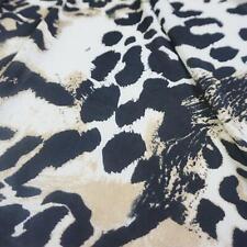 Cream and Black Leopard Print Stretch Polyester Fabric (Per Metre)