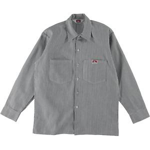 Ben Davis Long Sleeve Button Up Work Shirt Stripe Hickory