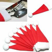 10 Pcs Christmas Silverware Holder Santa Claus Wine Bottle Hat Xmas Table Decor