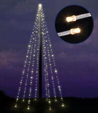 Fahnenstangen Lichterkette 8 x 10m mit 400 LED - warm weiß + Timer - Fahnenmast