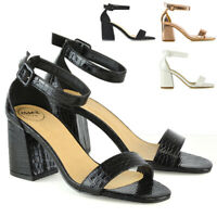 Womens Mid Block Heel Shoes Ladies Open Toe Buckle Ankle Strap Sandals Size 3-8