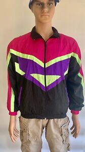 Vintage 90s Lavon Purple Yellow Casual Mens Shell Jacket Zip Up Medium Loud Rave