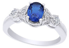 Fashion Ring in 14K White Gold Over Oval Cut Blue Sapphire & Cubic Zirconia