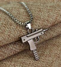 SILVER PEWTER UZI MACHINE GUN PISTOL BOX CHAIN PENDANT NECKLACE RIFLE UK SELLER
