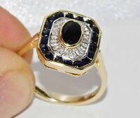 9ct Gold Blue Sapphire & Diamond Art Deco Design Cluster Ring - size M