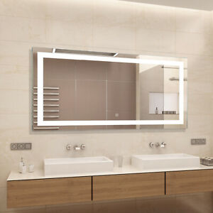 HOMCOM Illuminated LED Bathroom Mirror Wall Mounted Sensor Touch