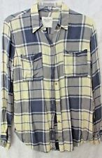 NWOT ABERCROMBIE FITCH BLUE IVORY CREAM PLAID SHIRT BUTTON FRONT S