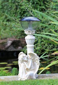 Garden Ornament Solar Fairy Angel Cherub Statue Pond Lantern Decoration 42cm
