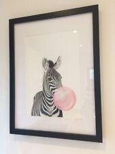 FRAMED Zebra Bubble Gum Baby Nursery Modern Art Poster Print Wall Picture Home