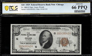1929 $10 Federal Reserve Bank Note - Chicago - FR.1860-G - Graded PCGS 66 PPQ