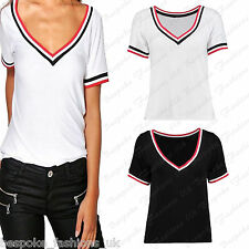 Ladies Women's Short Sleeve V Neck Stripe Summer T-Shirt Stretchy Top SM ML 8-14