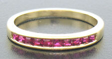 Petite 18k Yellow Gold 0.50ctw Rare Square Cut Blood Red Ruby Channel Band Ring