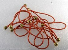 Vintage Elastic No Pull Lot of 12 Brass Ball End Red Gold Band Hair Accessory