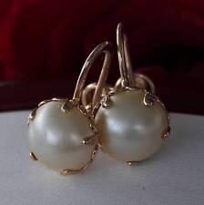 1930 Budlong Ducherty 10k yellow gold earrings 9mm mabe pearl clip on handmade