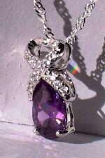 Love & Hearts Petite Infinity Purple Amethyst Pendant with chain