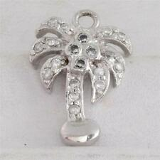 Sterling Silver Palm Tree with CZ Charm for Bracelet or Pendant 925 2.1g U-078