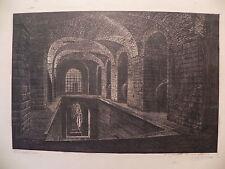 M Giggi Castellani 1941 xilografia originale carcere mamertino? prigione Roma