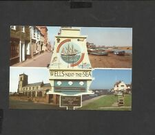 Multi View  postcard Town Sign Wells-Next-The-Sea Norfolk posted 1988