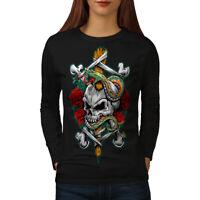 Wellcoda Biker Rock Art Skull Womens Long Sleeve T-shirt,  Casual Design