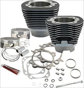 """S&S Cycle 117"""" CI Big Bore Cylinder Kit Black 10.9:1 Compression 07-17 Harley"""