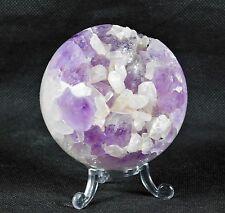 """SPH2) Amethyst + Calcite Quartz Crystal Sphere Ball Brazil Geode Gift  3""""  529g"""