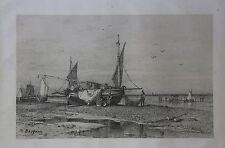 Michel BOUQUET (1807-1890) LITHOGRAPHIE AVANT LA LETTRE LORIENT MARINE BRETAGNE