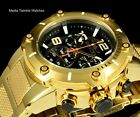 Invicta Speedway XL BLACK Dial Swiss Parts Chronograph Gold Tone S S Watch