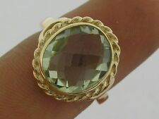 R220- Genuine 9ct Yellow Gold NATURAL Green Amethyst oval Solitaire Ring size O