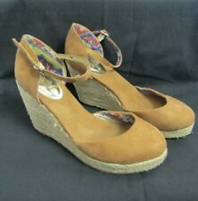 JOE BROWNS suede brown wedge shoes with ankle strap size 5