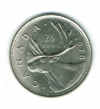 1970 Canadian Brilliant Uncirculated Business Strike Twenty Five Cent coin!