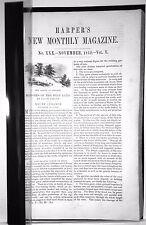 Harper's Monthly - rebound - you choose Sept, Oct, or Nov, 1852