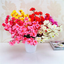 7 Branches Artificial Silk Cherry Spring Plum Peach Blossom Fowers Bouquet Home