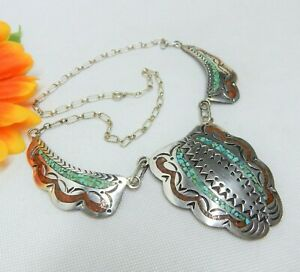 VINTAGE DJB NAVAJO 925 STERLING SILVER, TURQUOISE & CORAL INLAY PANEL NECKLACE