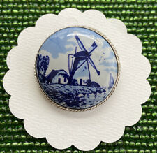 Vtg. 925 Sterling Silver DELFTS Hand Painted Porcelain Cameo Windmill Brooch