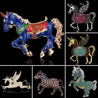 Fashion Horse Animals Crystal Rhinestone Enamel Brooch Pin Women Costume Jewelry