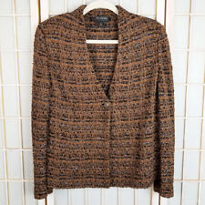 St. John Boucle Knit Blazer Jacket 6 Wool Blend One Button Front Office Evening