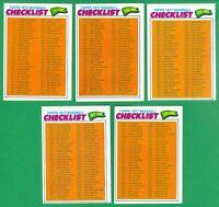 1977 TOPPS UNMARKED CHECKLIST SET OF 5  NRMT  VERY NICE!