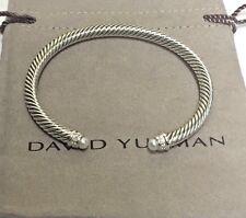David Yurman Sterling Silver Cable Classics Bracelet Pearl and Diamonds 5mm