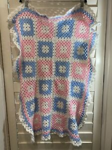 Hand Made Crochet Squares Pink Blue White Baby Blanket 85cm x 61cm Approx